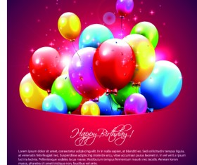 Happy birthday balloons of greeting card vector 08