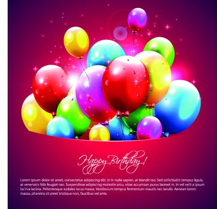 Happy birthday balloons of greeting card vector 08 Vector – Birthday Greeting Card Free Download