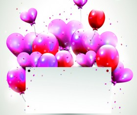 Happy birthday balloons of greeting card vector 09