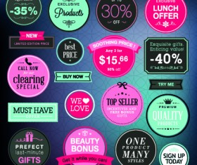 Vector Labels discounts sale set 01
