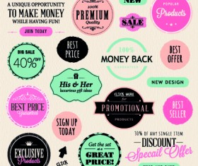 Vector Labels discounts sale set 02