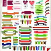 Link toDifferent ribbons elements vector set 04