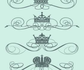 Royal crown decor vector 01