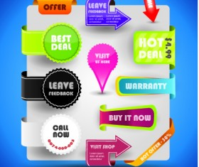 Special offer sale labels stickers vector 04