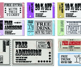 Tickets to the movie theater design elements vector 01