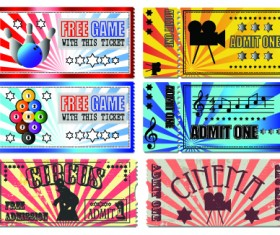Tickets to the movie theater design elements vector 03