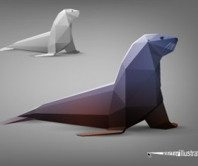 Vector Origami animal model set 02