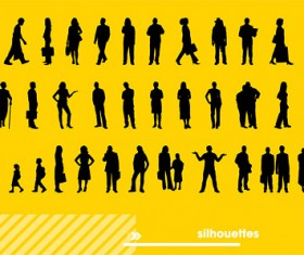 Various people silhouettes vector