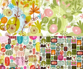 Lovely flowers and plants backgrounds vector graphic