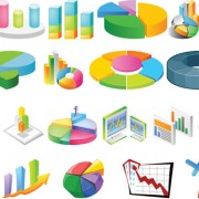 Link to3d stereo statistical analysis chart vector material
