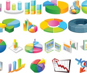 3D stereo statistical analysis chart vector material