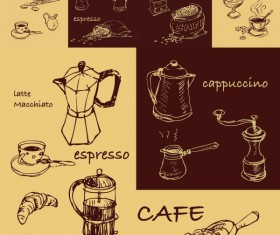 Hand-painted coffee line design elements