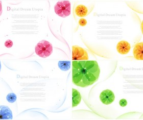 Lovely flowers elements vector graphics