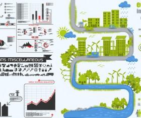 ecological energy-saving statistical chart vector set