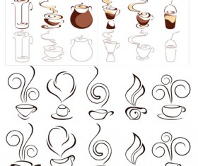 Abstract coffee graphics design elements