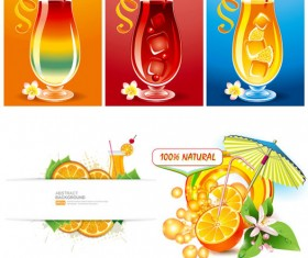 Summer drinks beverage vector material