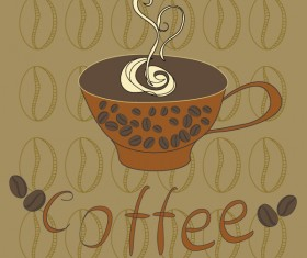 Hand-painted coffee cup vector