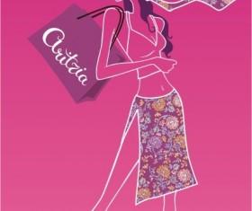 Shopping beautiful girl vector