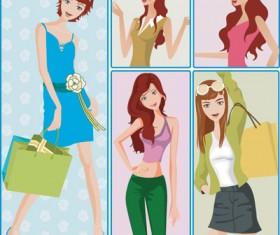 Shopping women 01 vector