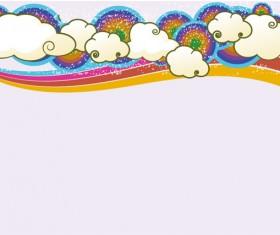 Trend of cloud rainbow background vector set