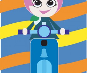 Girl on a motorcycle vector