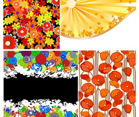 Colorful florals backgrounds vector material