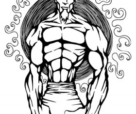 muscle with man vector