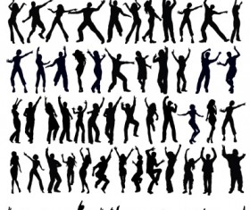 People dance silhouette vector art 01