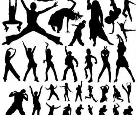 People dance silhouette vector art 02