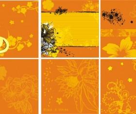 Decorative pattern flowers orange background design vector