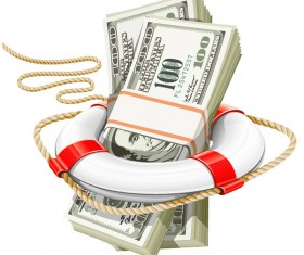 lifebuoy with dollars vector