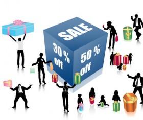 Discount sales and figures vector