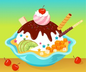 Cartoon ice cream Vector graphic