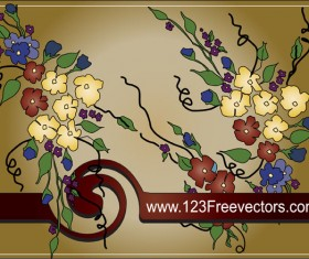 Hand-painted floral background vector