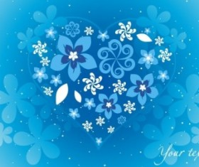 Blue Floral Heart 02 vector