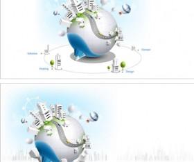 Creative ball on the city vector