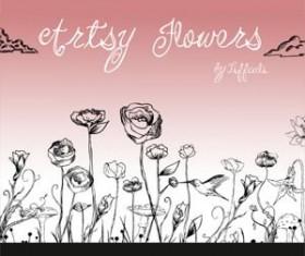 Artsy Flowers Photoshop Brushes