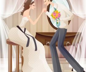Sweet wedding set 77 vector