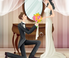 Sweet wedding set 80 vector