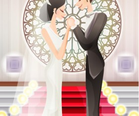 Sweet wedding set 82 vector