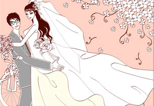 Sweet wedding set 90 vector