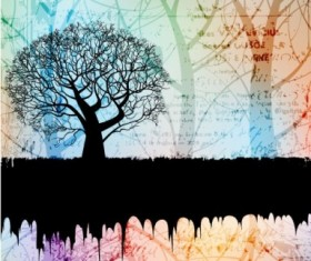 tree silhouette elements Background 01 vector