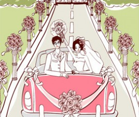 Sweet wedding set 101 vector