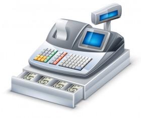 3D cash register elements vector