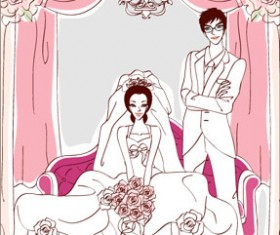Sweet wedding set 102 vector