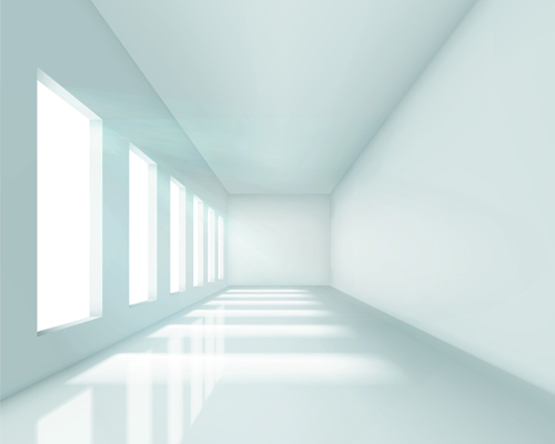 Spacious Empty White Room design vector 01