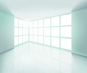 Spacious Empty White Room design vector 02
