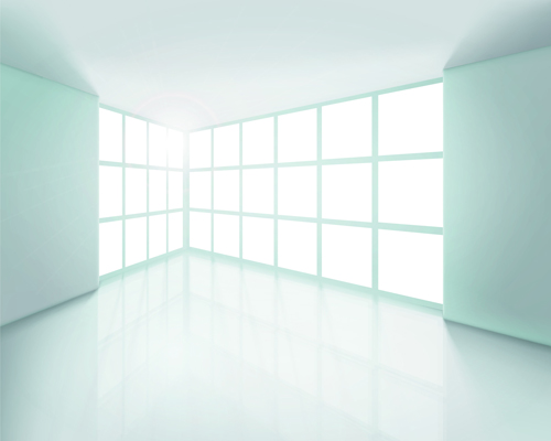 Spacious Empty White Room design vector 02