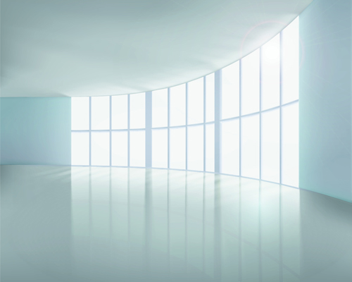 Spacious Empty White Room design vector 04