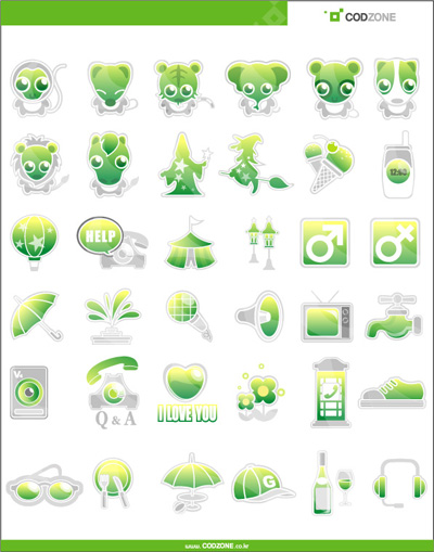Green cute Icon vector